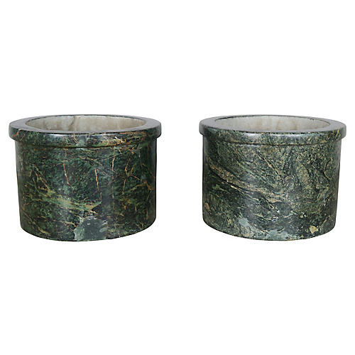 Green Marble Cachepots, Pair