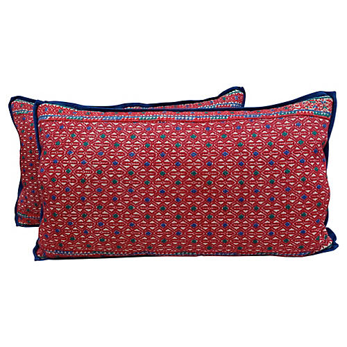 Hmong Diamond Patterned Pillows, Pair