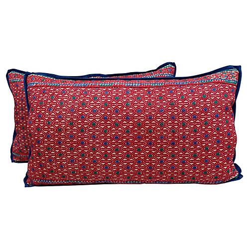 Hmong Diamond Patterned Pillows, Pair