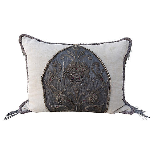 19th C. Metallic Embroidered Pillow