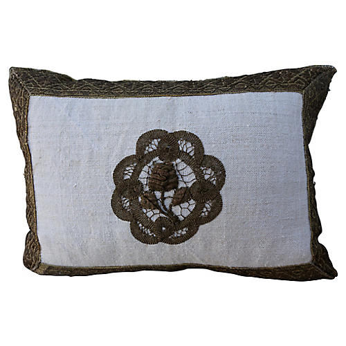 19th C. French Metallic Applique Pillow
