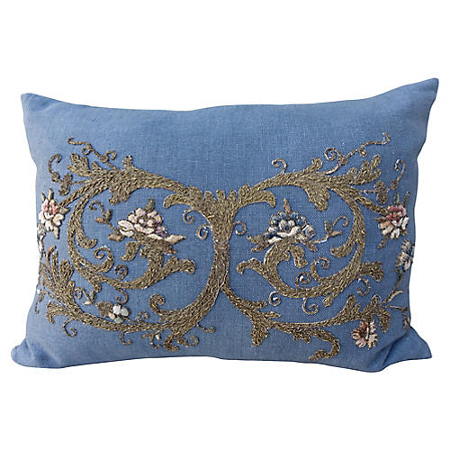 19th C. Metallic Applique Linen Pillow