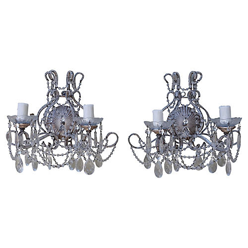 Silver Crystal Beaded Sconces, Pair