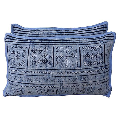 Blue & Gray Batik Pillows, Pair