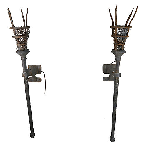 Pair of Wrought Iron Torchiere Sconces