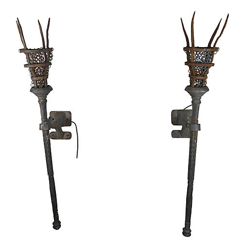 Wrought Iron Torchiere Sconces, pair