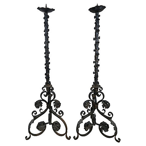 Pair of French Wrought Iron Torchieres