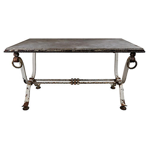 19th C Wrought Iron Table w/ Marble Top