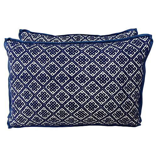 Blue & White Hmong Pillow, Pair