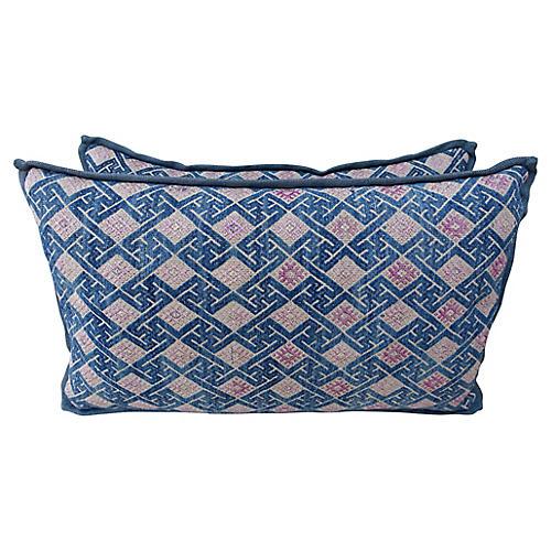 Pink & Blue Woven Hmong Pillows, Pair