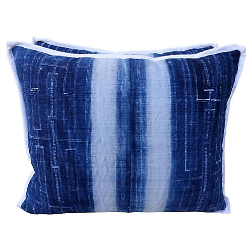 Blue & White Batik Cotton Pillows - Pair