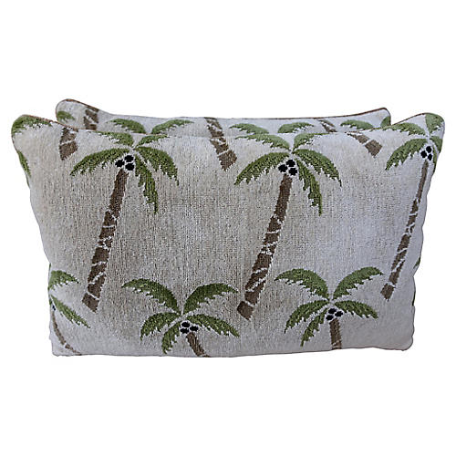 Palm Tree Pillows, Pair