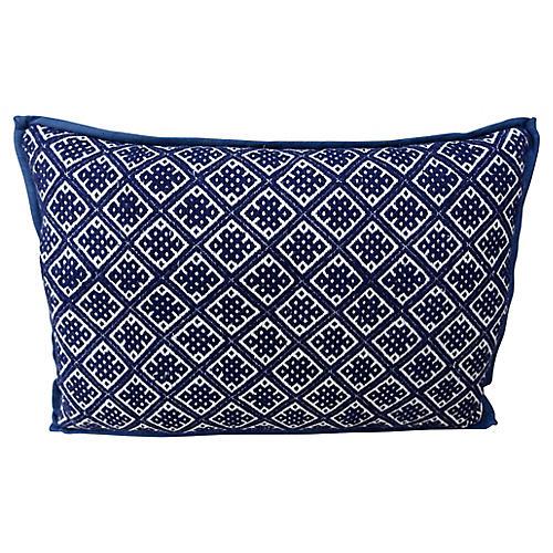 Blue & White Cotton Woven Hmong Pillow