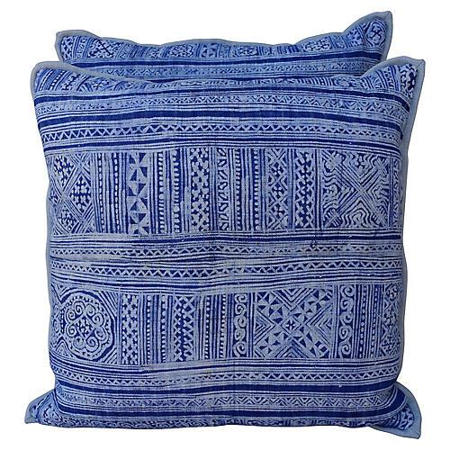 Navy & Light Blue Batik Pillows, Pair