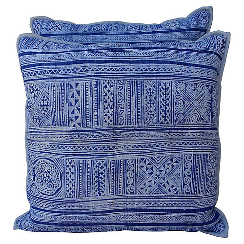Navy & Light Blue Batik Pillows, Pair