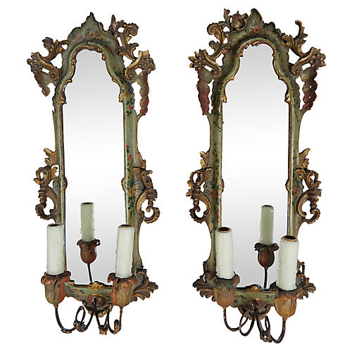 Italian Painted 2-Arm Sconces, Pair
