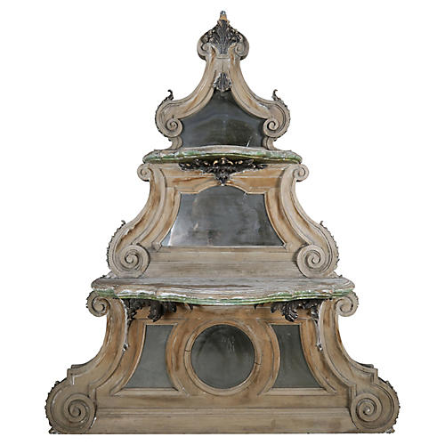 Painted French Carved Mirrored Shelf