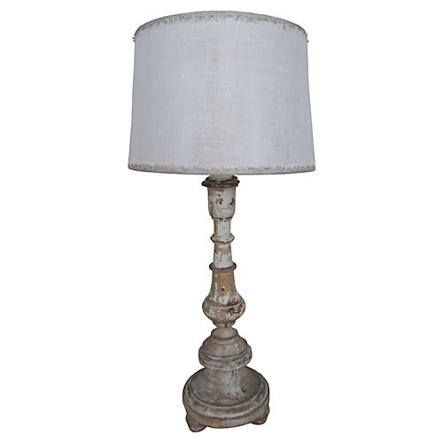 Swedish Painted Lamp w/ Linen Shade