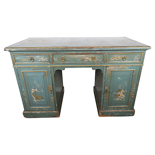 English Blue Chinoiserie Desk, C. 1900