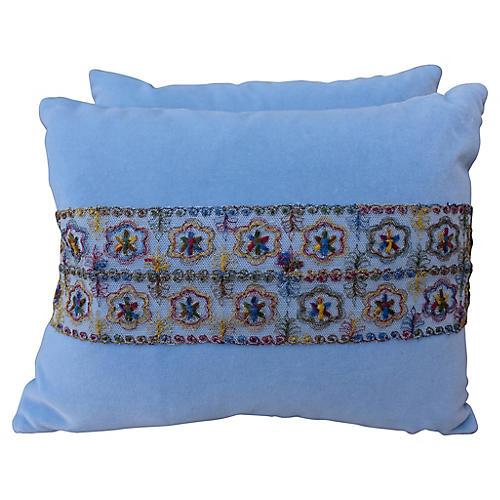 Blue Velvet Pillows w/ Lace Appliqués
