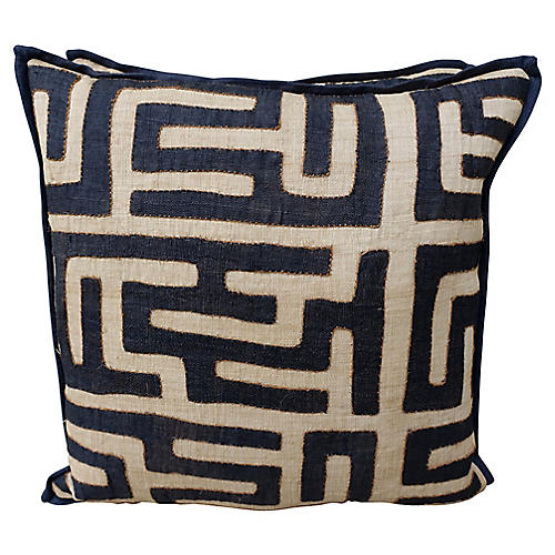 African Kuba Cloth Pillows, Pair