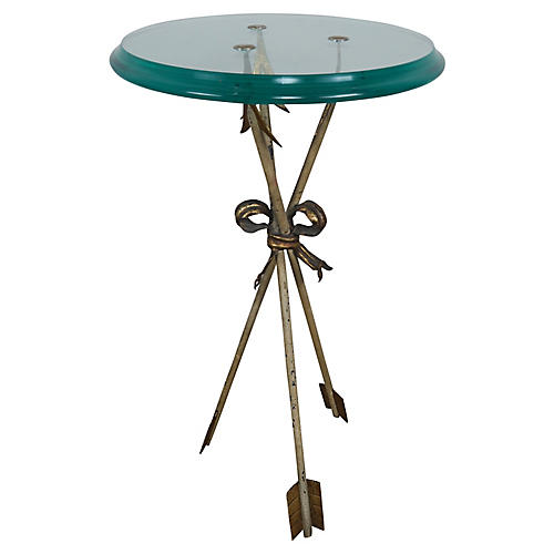 Glass Round Table with Arrow Tripod Base