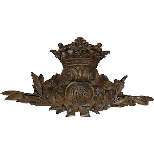 Carved Architectural Piece w/ Crown