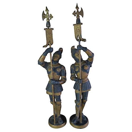 Metal Spanish Figures C. 1900, pair