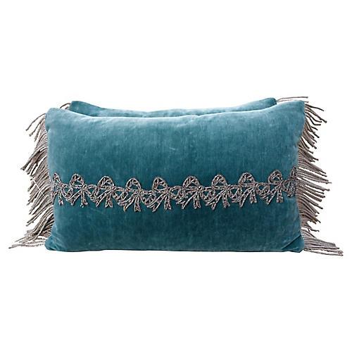 Teal Velvet Applique Beaded Bow Pillows