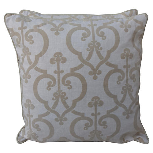 Cut Velvet Cream Linen Pillows, Pair