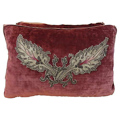Rust Applique Velvet Pillows - a Pair