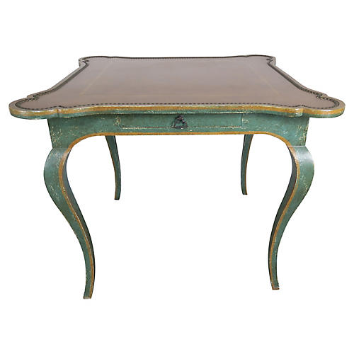 Minton-Spidell Leather Top Game Table