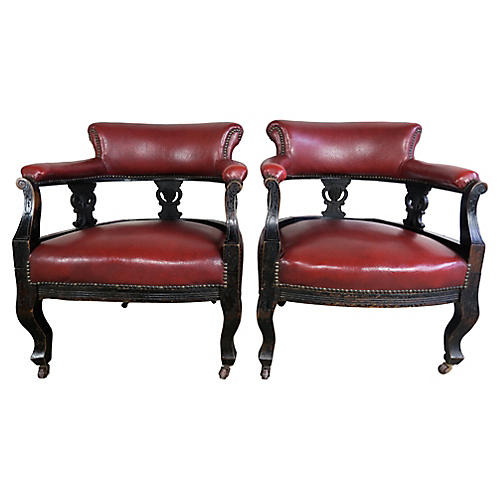 19th C Red Barrel Back Armchairs, Pair