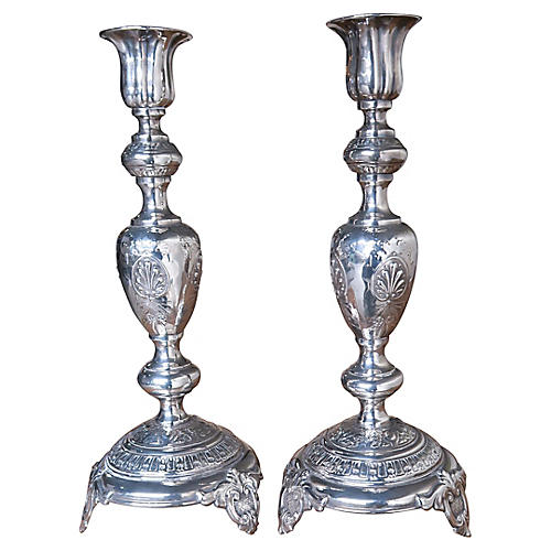 Pair 19th C Russian Candlesticks