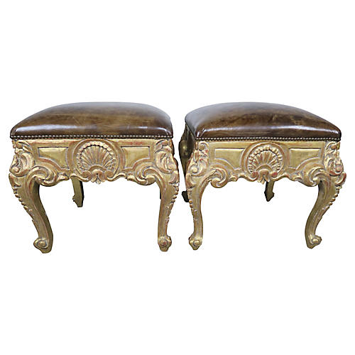 French Leather Gilt Wood Benches, Pair