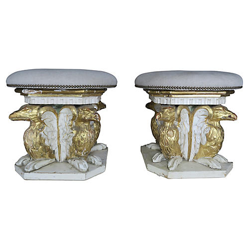 19th C. Painted & Parcel Gilt Stools, Pr