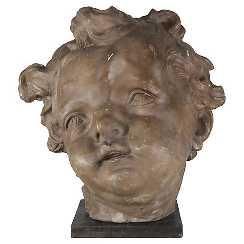 Terra Cotta Cherub Head on Steel Base