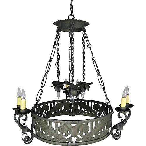 19th C. Spanish Wrought Iron Chandelier