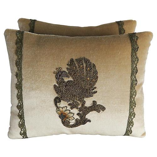 Metallic Appliqued Velvet Pillows, Pair