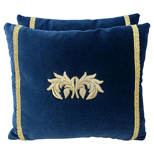 Metallic Appliqued Velvet Pillows, Pair