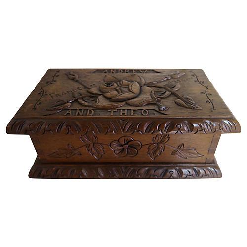 American Walnut Primitive Carved Box