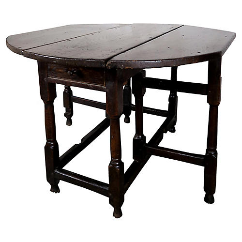 19th C. English Walnut Gate-Leg Table