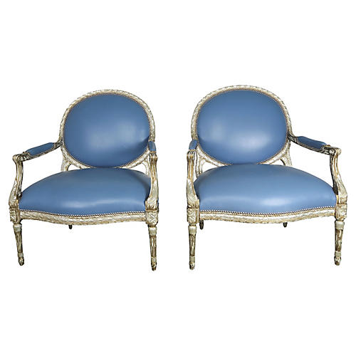 Leather Neoclassical-Style Chairs, Pair
