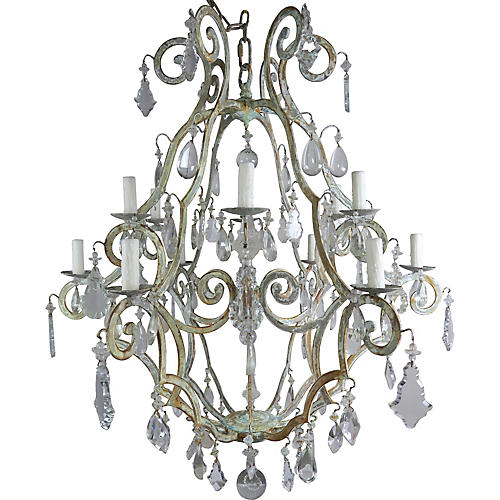 Italian Painted Wrought Iron Chandelier