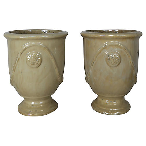 French Ceramic Planters, Pair