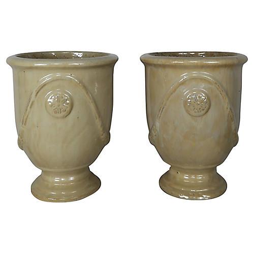 French Ceramic Planters, Pair