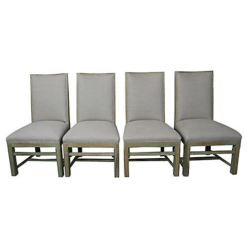 Swedish Painted Dining Chairs, S4