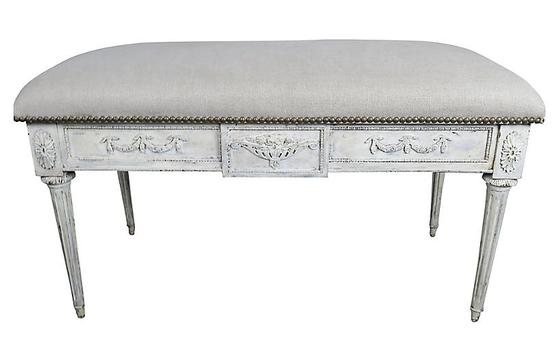Italian Neoclassical Style Linen Bench