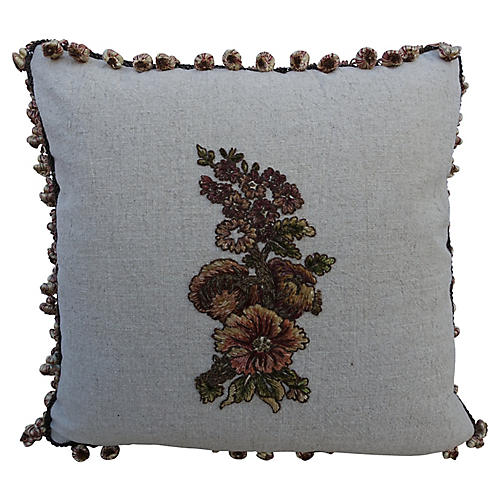 French Appliqued Linen Pillows, Pair