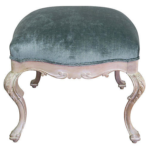 French Painted Velvet Bench